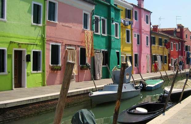 Venice Murano painted houses