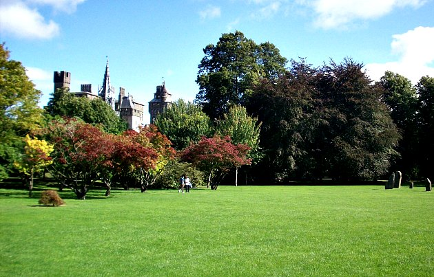 Bute Park with Cardiff Castle