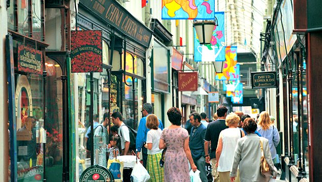 Cardiff Arcades with people
