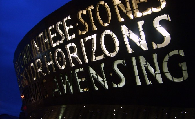 Cardiff Millennium Centre at night (www.free-city-guides.com)