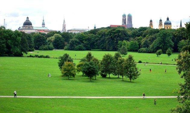 Munich English Garden with city