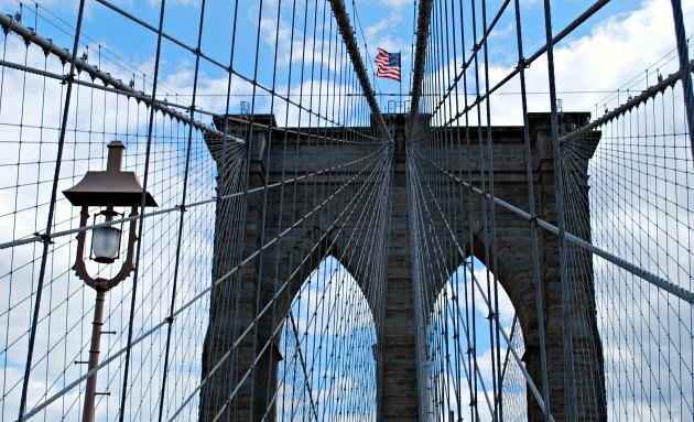 New York Brooklyn Bridge with lamp