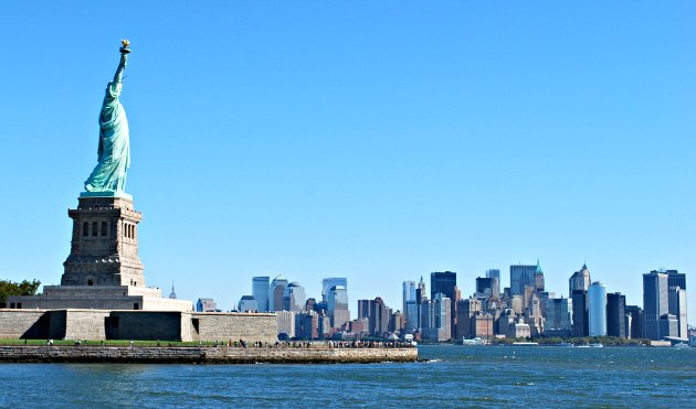 New York Statue of Liberty and skyline