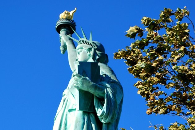 New York Statue of Liberty with trees