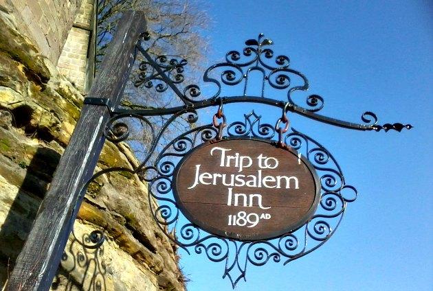 Nottingham Ye Olde Trip To Jerusalem Sign