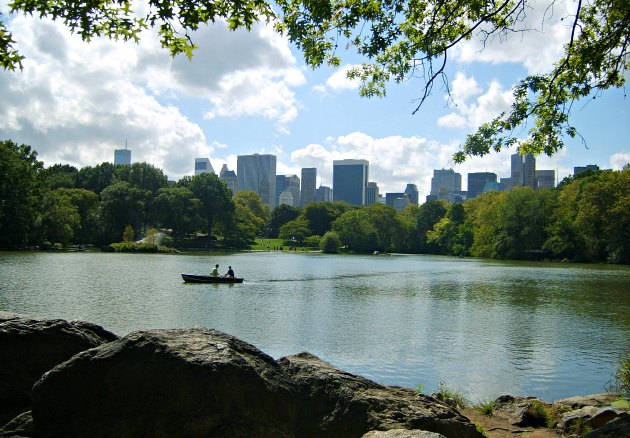 New York Central Park Lake With Boat