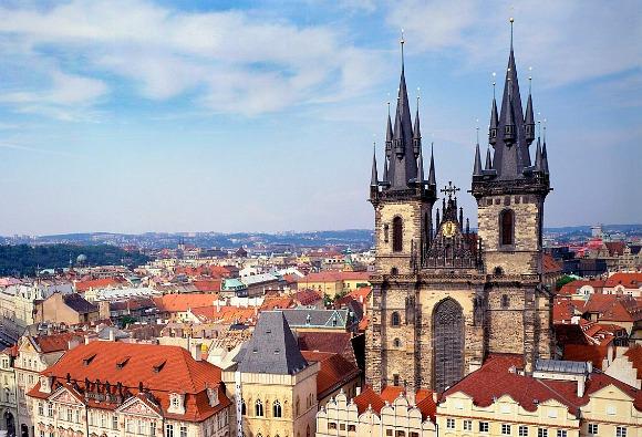 Prague Tyn Church Tower from Town Hall