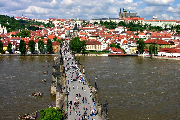 Prague Charles Bridge from Tower