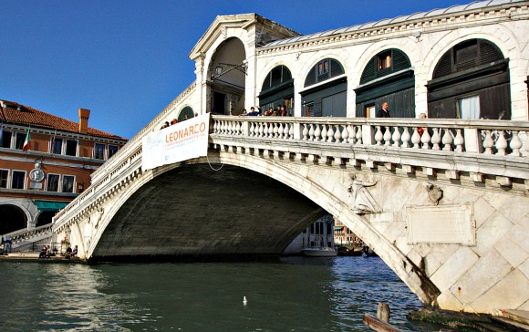 Venice Rialto Bridge from Canal Bank