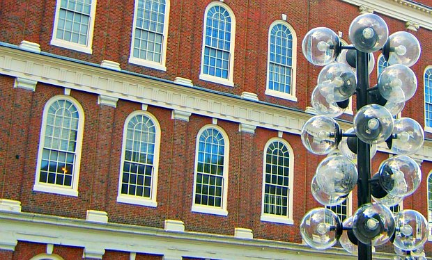 Boston Faneuil Hall with lights