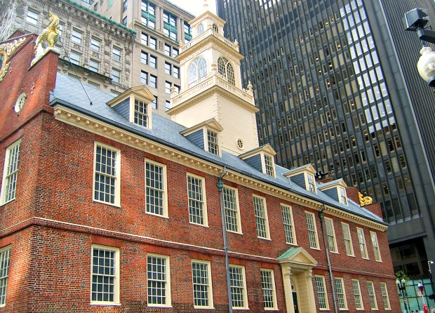 Boston Old State House side new