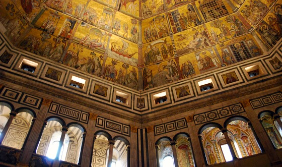 The mosaic ceiling at the Baptistry, Florence