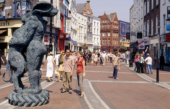 Upper Grafton Street with temporary Hare statue on a sunny day