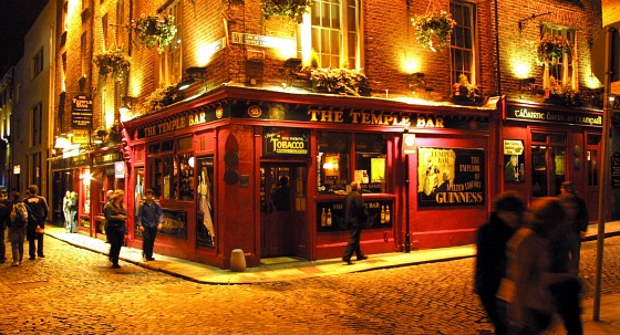 The Temple Bar Pub, Temple Bar, landscape with some people outside