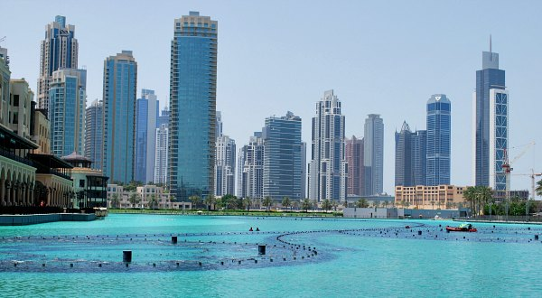 Dubai Fountain Lake Daytime