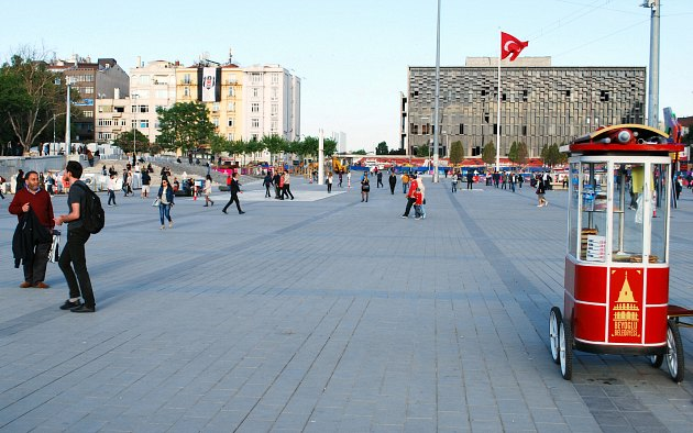 Istanbul Taksim Square with Flag