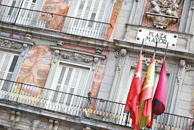 Madrid Plaza Mayor Flags