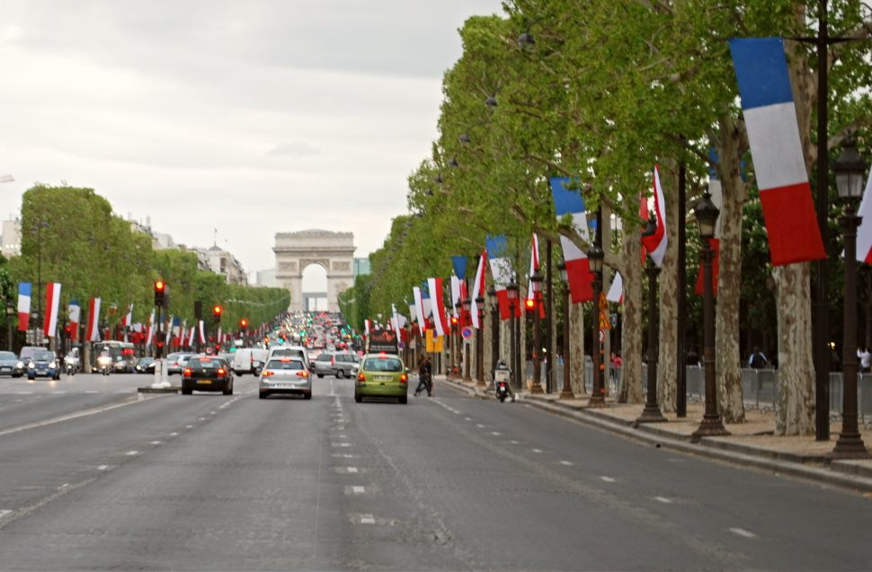 Paris Champs Elysees Flags