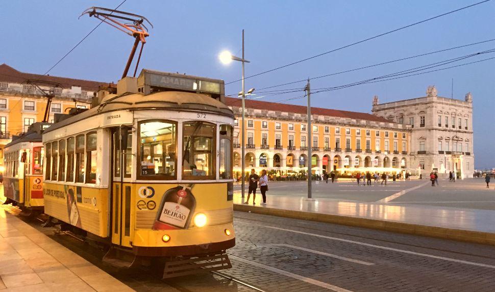 Lisbon Tram in Comercio Square