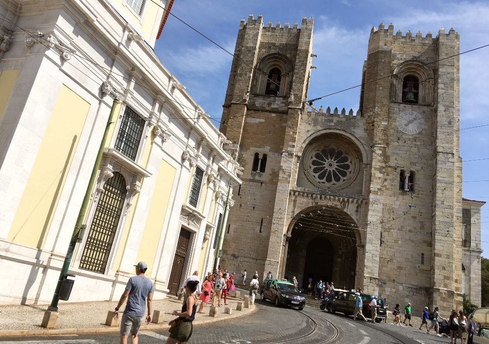 Lisbon-Cathedral-Exterior-with-tram-lines
